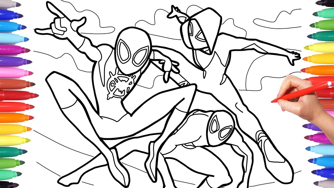 Spider-man Into the Spider-Verse Coloring Pages, How to Draw Spiderman and  Spider Woman