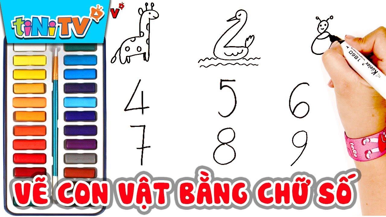 Vẽ 'CON VẬT' đơn giản bằng chữ số đếm cho bé học vẽ | tiNiTV