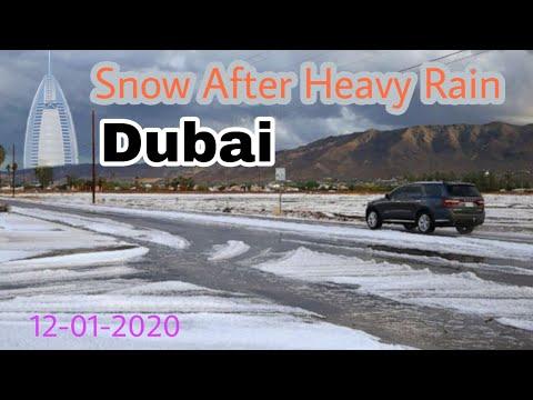 Snow with heavy rain In Dubai | snow in UAE | #snow #dubai #