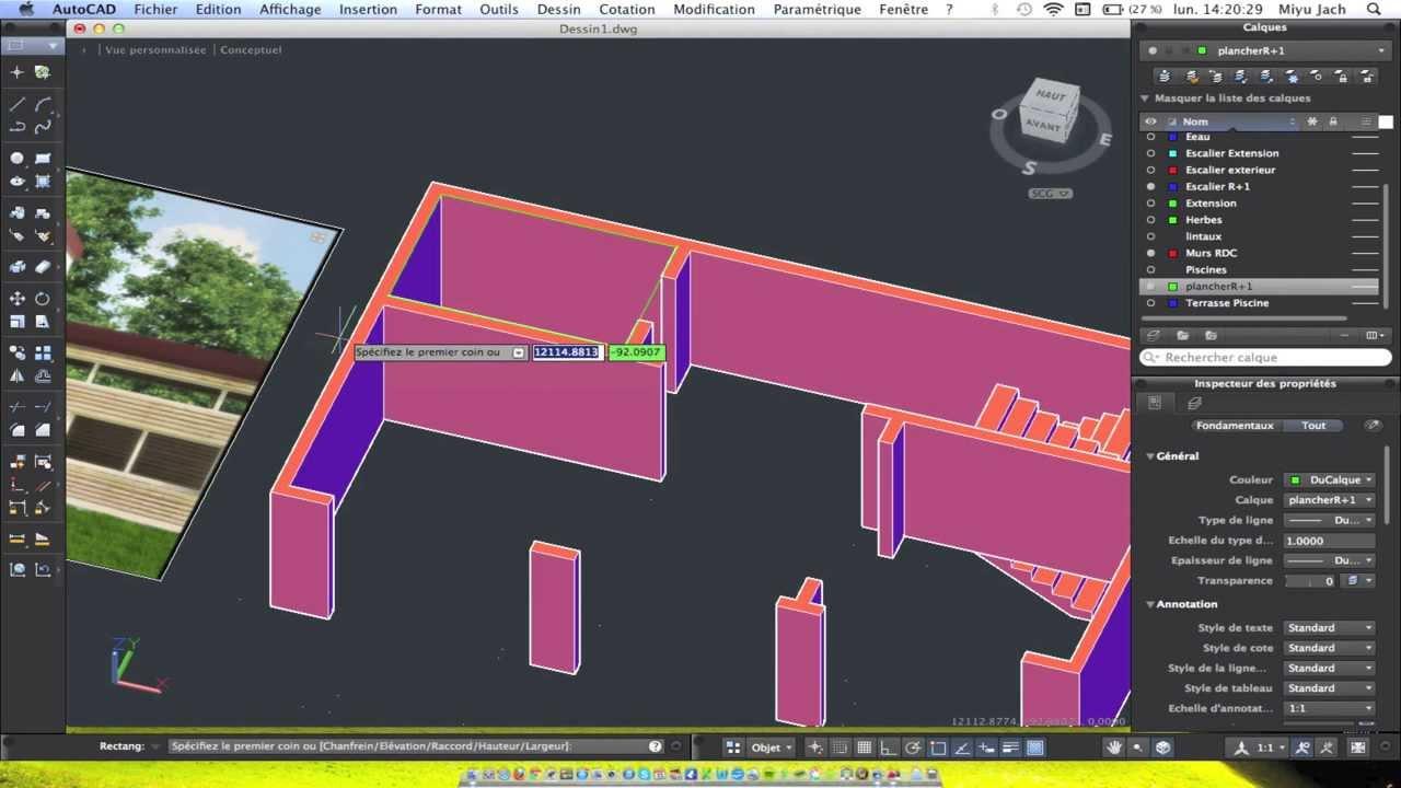 Autocad 3d mac tutoriel complet partie 2 mod lisation for Modelisation maison 3d