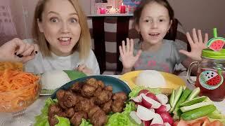 Мукбанг/Китайская кухня/Митболы в соусе Терияки с Рисом и овощами/Прямо в магазине...
