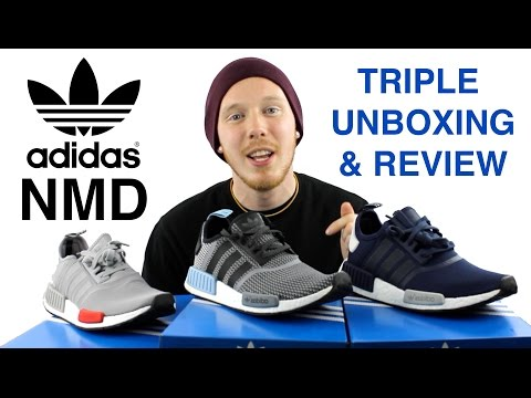 2dd24e53ef33f Unboxing (2) Pickup Latest New Release NMD R1 Black   Grey Dropping ...