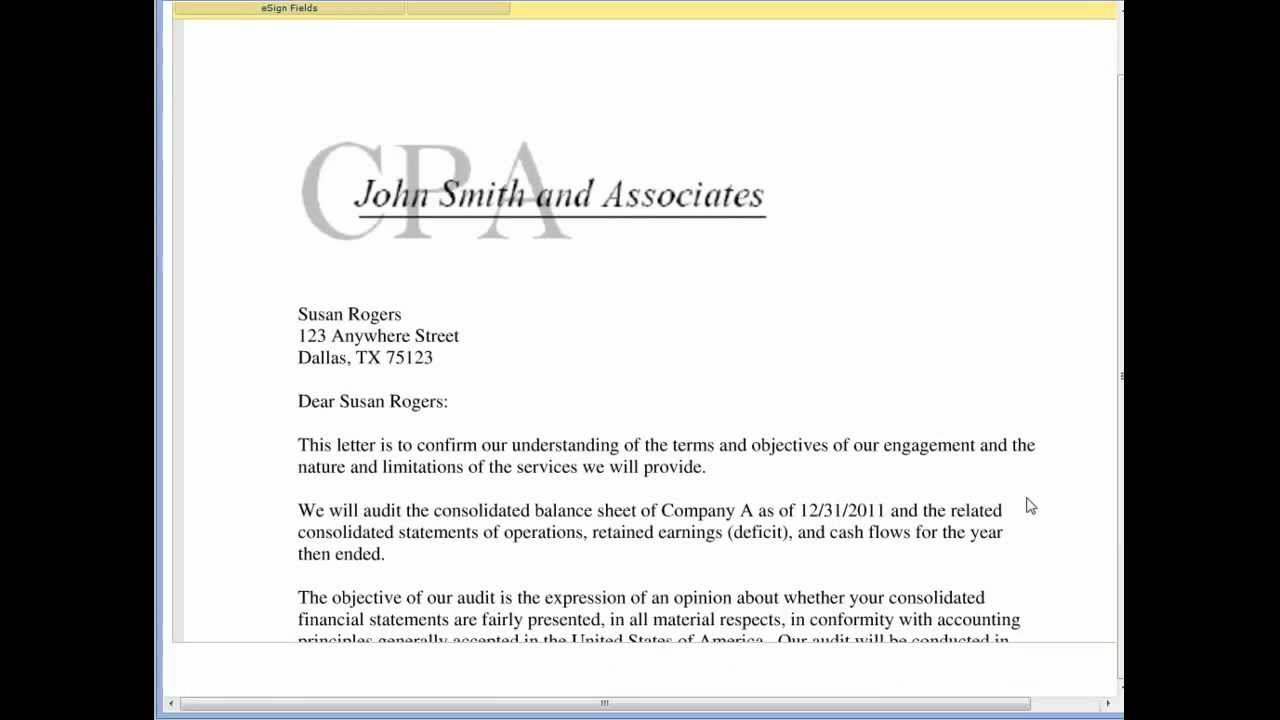 Securesignature on a cpa engagement letter youtube for Cpa engagement letter template