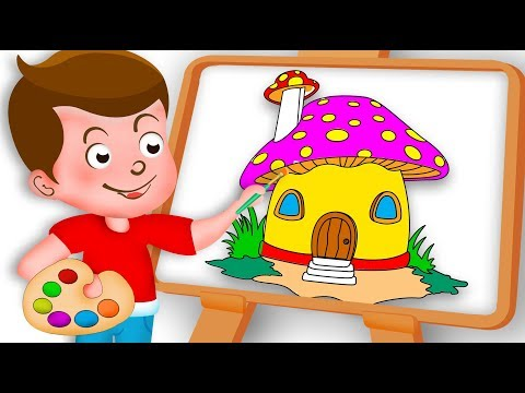 Drawing Mushroom house Paint And Colouring For Kids Kids drawing TV