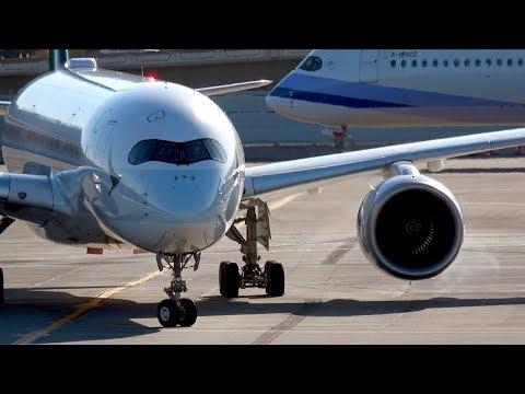 [4K] A350 Party at San Francisco Airport - Cathay, China Airlines and Asiana