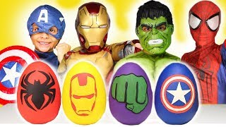 Avengers Play-Doh Surprise Eggs Costumes Disney Review Kids Toys Iron Man Spiderman Hulk halloween