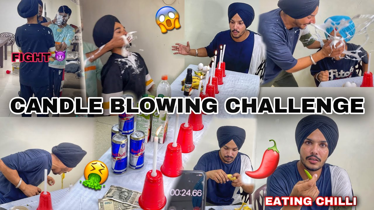 Blow Candles challenge 😱 *Crazy Dares* 😂 Eating Green chilli , Raw Eggs , 😈 Red Bull