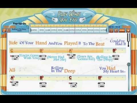 Rolling In The Deep  Adele  Guitaraoke  Chords & Lyrics, playwhatyoufeelcom