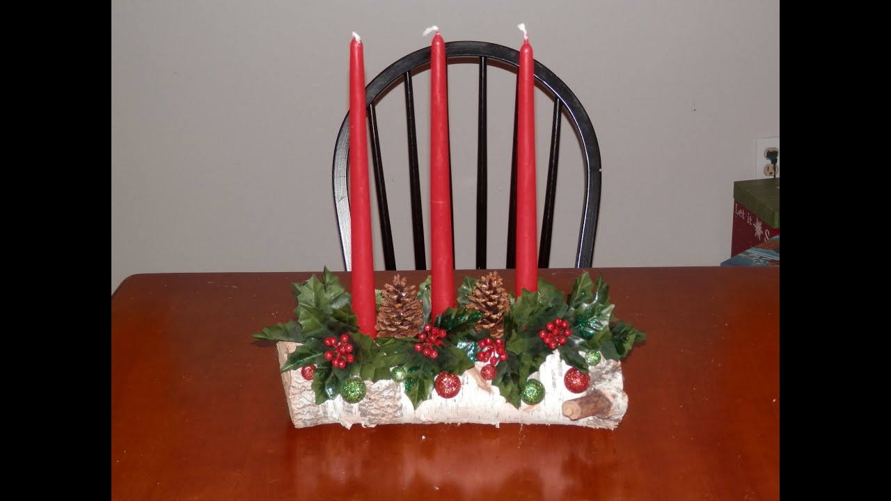 my yule log candle holder video youtube - Christmas Log Candle Holder Decorations