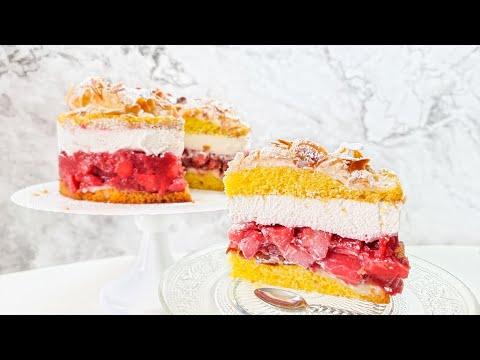 Pyszny tort z malinami i jabłkami