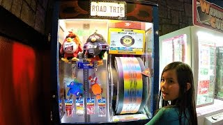 Piper Wins Prizes Playing Road Trip Prize Redemption Arcade Game - Kids Gaming Center Playtime!