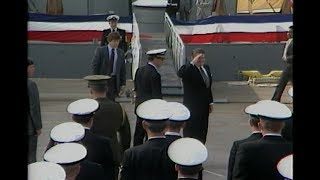 President Reagan at Recommissioning Ceremony for USS New Jersey on December 28, 1982
