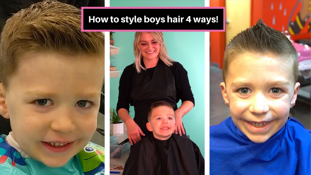 4 Ways To Style Little Boys Hair With A High Fade Haircut Spiked Up Mohawk Etc Easy Youtube