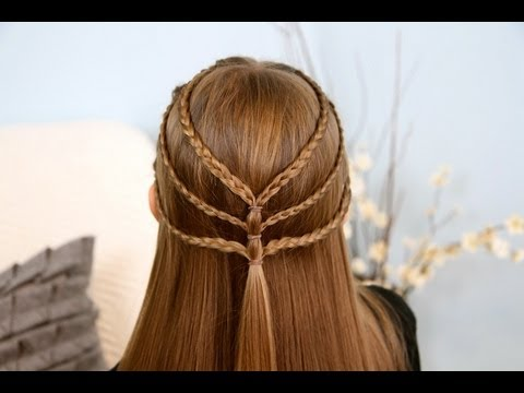 Triple-Braided Tieback | Cute Girls Hairstyles - YouTube