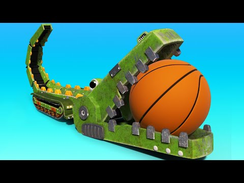 AnimaCars -  The CROCODILE Conveyor Belt is playing Basketball ! cartoons with animals