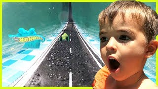 Dad Turns Swimming Pool into Hot Wheels Track!