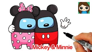How to Draw AMONG US Mickey and Minnie Mouse Hugging Couple