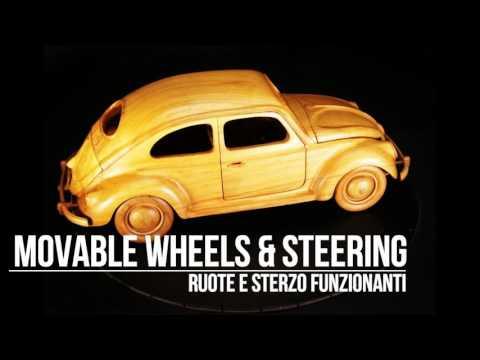 VOLKSWAGEN BEETLE MAGGIOLINO 1955 WOODEN CAR MODEL-MODELLO AUTO IN LEGNO