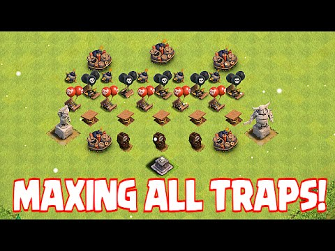 Clash of clans MAXING ALL TRAPS!! (Xmas tree Defense replay)
