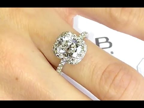 2 carat Cushion Cut Diamond Halo Engagement Ring - YouTube bb719a868