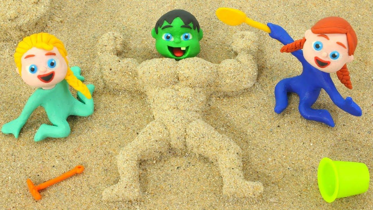 BABY HULK BECOMES A MUSCULAR MAN SAND FIGURE ❤ Spiderman, Hulk & Frozen Play Doh Cartoons For Kids