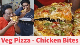 Easy Pizza Making at Home – Double Cheese Pizza (Veg) with Pizza Sauce Recipe and Chicken Bites