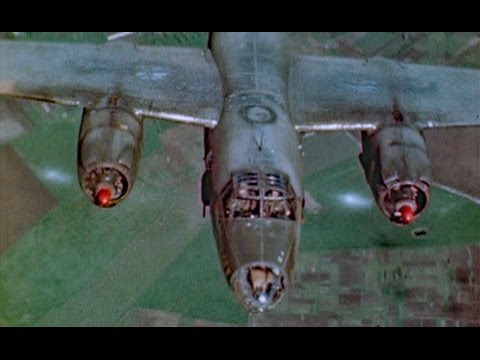 WW2 Color B-26 Marauders Over Germany