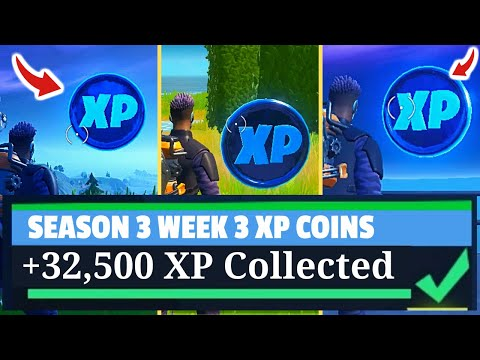 All Fortnite BLUE XP COINS - Collect Blue XP Coins - Fortnite Season 3 XP Coins (WEEK 3)!