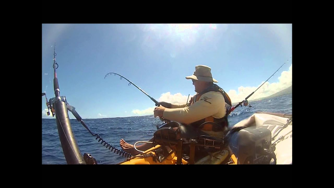 Hobie kayak fishing hawaii mahi youtube for Kayak fishing hawaii