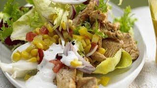 Овощной салат с курицей. Салат с курицей, кукурузой и сыром.