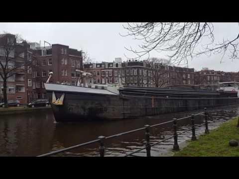 Bulk Cargo Ship using Amsterdam Canals