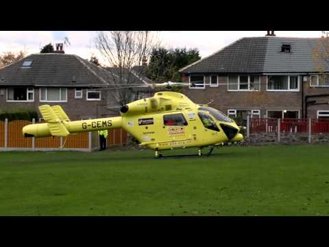 Yorkshire Air Ambulance G-CEMS filmed in Bradford, West Yorkshire on 07/11/2010