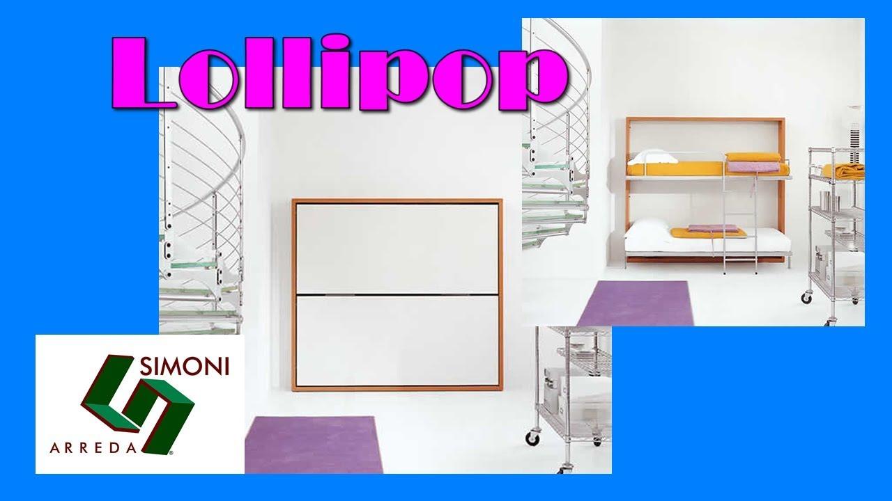 Letto a scomparsa a castello modello lollipop in youtube for Simoni arreda milano