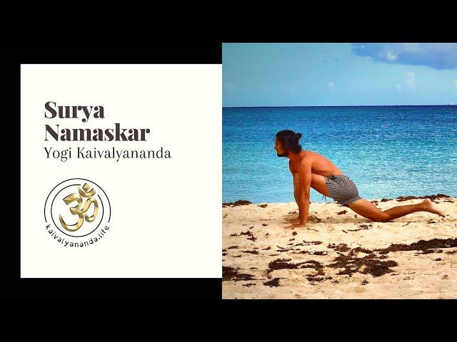 Surya namaskar demo with Yogi Kaivalyananda