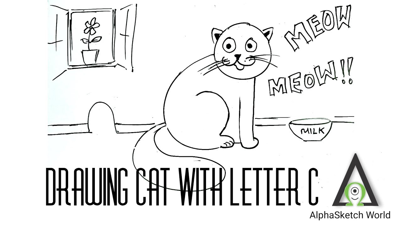 easy drawing with letter c draw a cat kids drawing channel