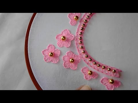 Hand Embroidery: Neck line embroidery design,Hand Embroidery