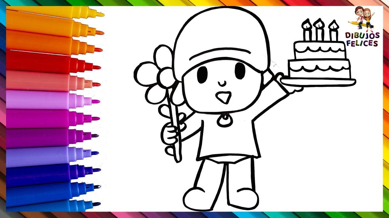 Dibuja y Colorea A Pocoyó Con Un Pastel De Cumpleaños Y Una Flor 👶🎂🌼 Dibujos Para Niños