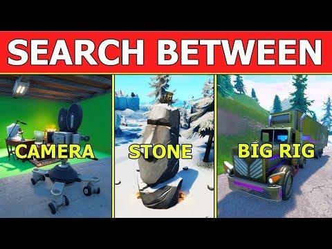 Search Between A Basement Film Camera A Snowy Stone Head & A Flashy Gold Big Rig! FORTNITE LOCATION!