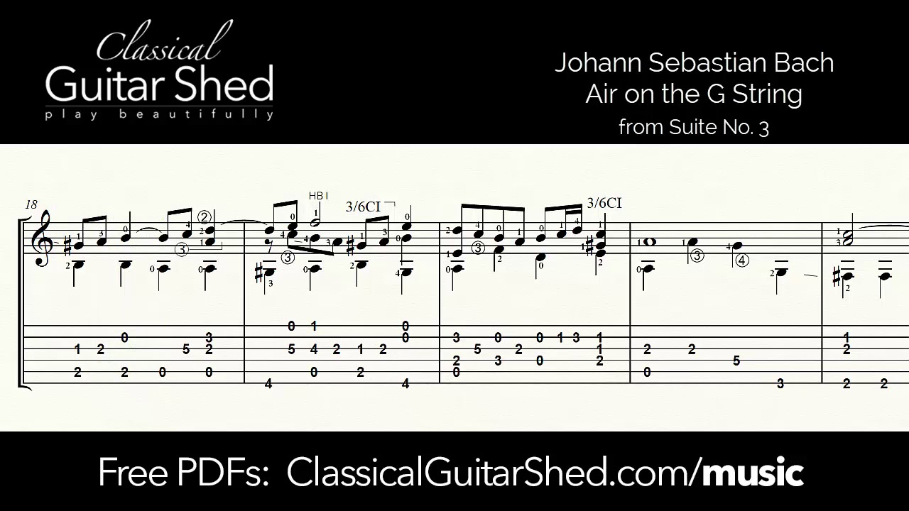 JS Bach: Air on the G String - Free sheet music and TABS for classical  guitar