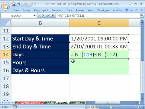 Excel Magic Trick 299: Date & Time Number - Total Days & Hours Formula