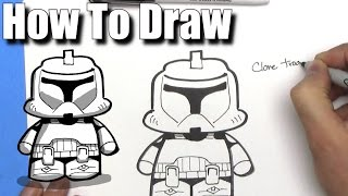 How To Draw a Cute Cartoon Clone Trooper - EASY Chibi - Step By Step - Kawaii