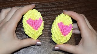 3D origami Eggs with heart for Easter Tutorial