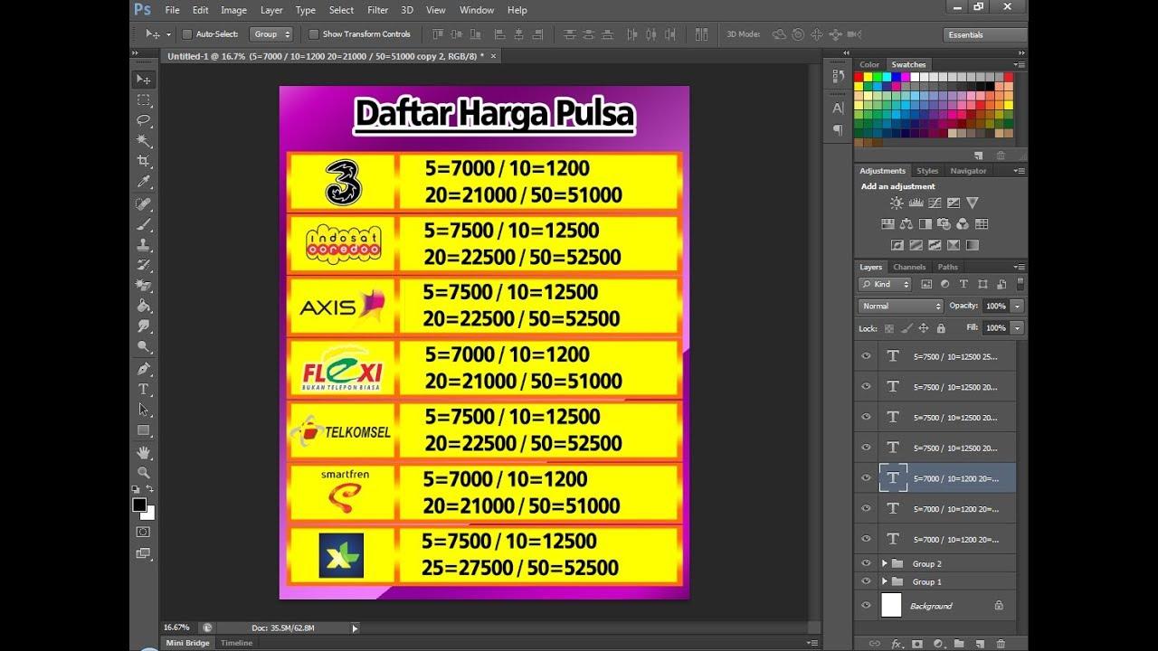 Cara Membuat Daftar Harga Pulsa Dengan Menggunakan Photoshop Youtube
