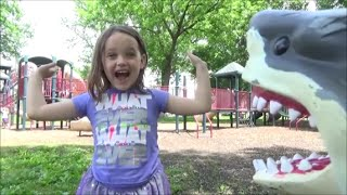 "Girl Fights Off Shark Attack At Playground ""Mega & Great White Toy Sharks"""