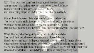 Carrion Comfort By Gerard Manley Hopkins Read By Tom O Bedlam Youtube
