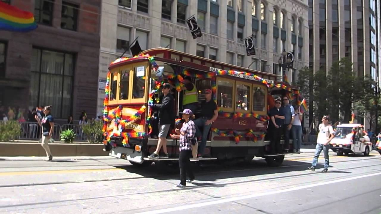 Gay Men On A Float In Gay And Lesbian Pride Parade