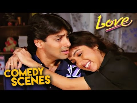 Salman Khan Comedy Scenes | Love Hindi Movie | Revathi, Amjad Khan | HD 1080p