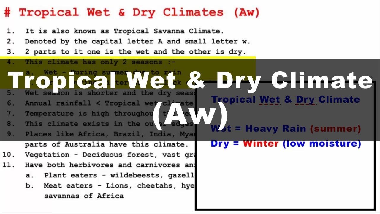 Schema di Koppen - Clima secco umido tropicale Aw Upsc Ias-2740