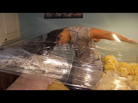 Saran Wrapping Him to His Bed Prank