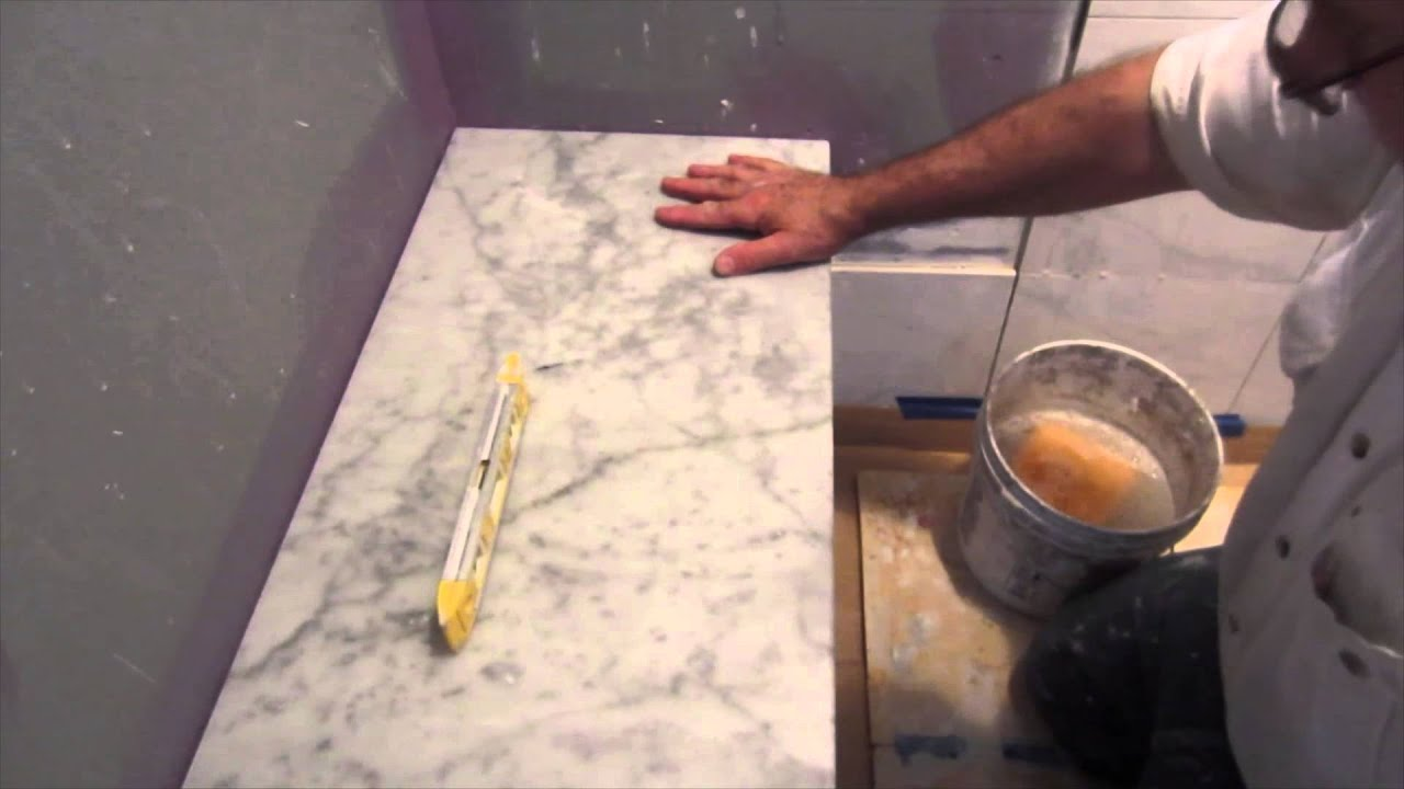 How to install marble on bench seat and shower curb - YouTube